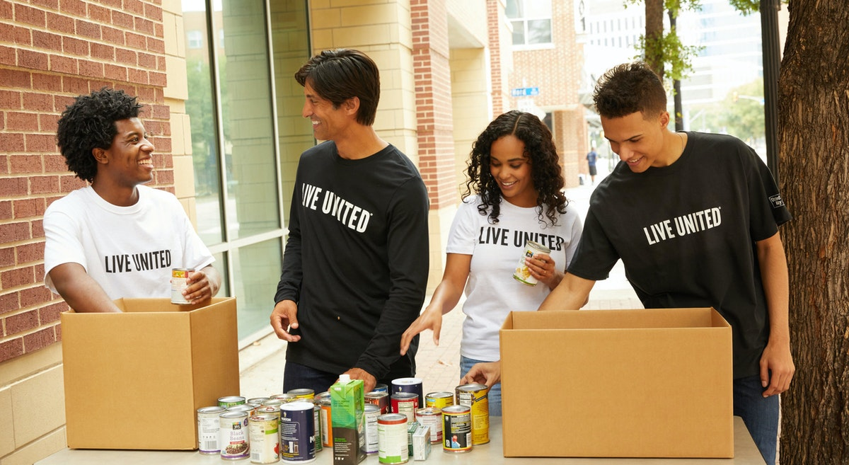 diverse group of adults volunteering, LIVE UNITED